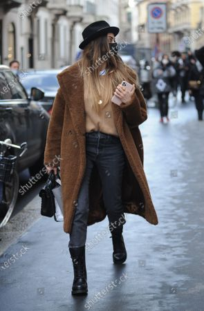Editorial image of Melissa Satta out and about, Milan, Italy - 09 Feb 2021