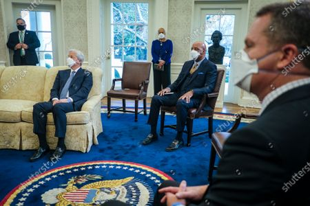 Jamie Dimon, Chairman and CEO of JPMorgan Chase, Marvin Ellison, President and CEO of Lowe's Companies and Doug McMillon (l-r) look on as President Joe Biden, Vice President Kamala Harris and Secretary of the Treasury, Janet Yellen meet with business leaders about the critical need for the American Rescue Plan in the Oval Office at the White House in Washington, D.C.,. Attending the meeting are Jamie Dimon, Chairman and CEO of JPMorgan Chase, Tom Donohue, CEO at the U.S. Chamber of Commerce, Doug McMillon, President and CEO of Walmart, Sonia Syngal, President and CEO of Gap, Inc. and Marvin Ellison, President and CEO of Lowe's Companies, Inc.