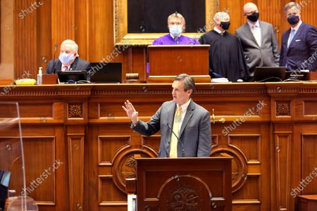 Stock Picture of South Carolina Sen. Tom Davis, R-Beaufort, speaks on the Senate floor during a debate whether to move teachers to the front of the line for COVID-19 vaccines on in Columbia, S.C. The governor doesn't want teachers to get priority