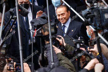 Forza Italia leader Silvio Berlusconi arrives in Montecitorio for an interview with the designated premier Mario Draghi