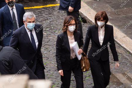 Antonio Tajani, Mariastella Gelmini, Anna Maria Bernini enter Montecitorio Palace