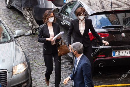 Stock Picture of Anna Maria Bernini and Mariastella Gelmini enter the Montecitorio Palace