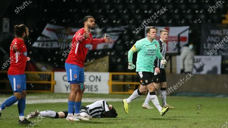 Michael Doyle races over to the referee after Alex Lacey is impeaded from behind.
