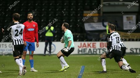 Paul McCallum rues his missed penalty much to the delight of Michael Doyle and team mates.
