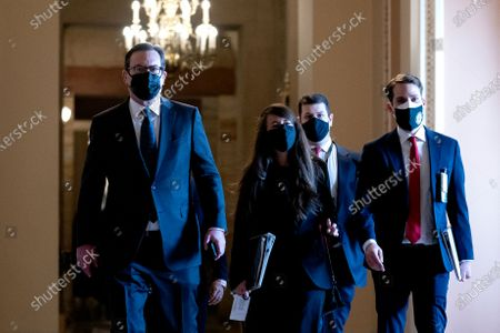 Barry Berke, Democratic counsel, left, wears a protective mask while walking through the U.S. Capitol in Washington, D.C., U.S.,. The Senate begins Donald Trump's second impeachment trial today with a fight over whether the proceeding is constitutional, as a number of conservative lawyers reject the defense team's claim that a former president can't be convicted of a crime by Congress. Photographer: Stefani Reynolds/Bloomberg