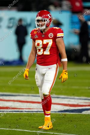 Kansas City Chiefs tight end Travis Kelce (87) walks back to the tunnel at halftime of the NFL Super Bowl 55 football game against the Tampa Bay Buccaneers, in Tampa, Fla. The Tampa Bay Buccaneers defeated the Kansas City Chiefs 31-9