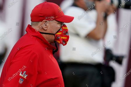 Kansas City Chiefs head coach Andy Reid walks onto the field before the NFL Super Bowl 55 football game, in Tampa, Fla. The Tampa Bay Buccaneers defeated the Kansas City Chiefs 31-9