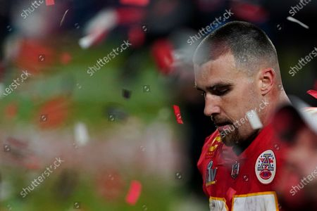 Stock Picture of Kansas City Chiefs tight end Travis Kelce (87) walks off the field after the NFL Super Bowl 55 football game against the Tampa Bay Buccaneers, in Tampa, Fla. The Tampa Bay Buccaneers defeated the Kansas City Chiefs 31-9