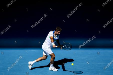 Stan Wawrinka of Switzerland in action against Marton Fucsovics of Hungary during their second round match of the Australian Open Grand Slam tennis tournament in Melbourne, Australia, 10 February 2021.