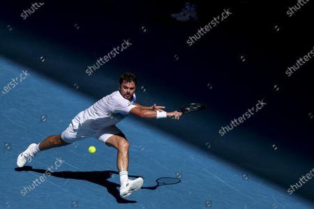 Stan Wawrinka of Switzerland in action against Marton Fucsovics of Hungary in the second round of the Australian Open Grand Slam tennis tournament in Melbourne, Australia, 10 February 2021.