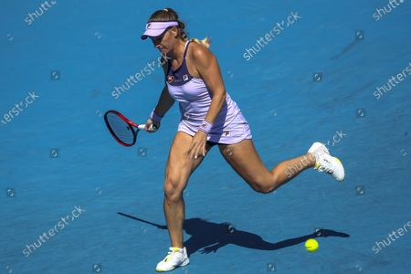 Timea Babos of Hungary in action against Anastasia Potapova of Russia during their second round match of the Australian Open Grand Slam tennis tournament in Melbourne, Australia, 10 February 2021.