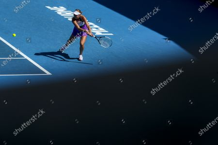 Stock Photo of Anastasia Potapova of Russia in action against Timea Babos of Hungary during their second round match of the Australian Open Grand Slam tennis tournament in Melbourne, Australia, 10 February 2021.