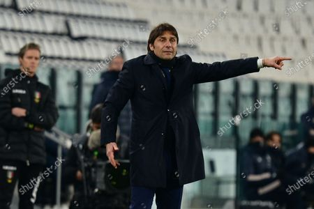 Antonio Conte Head coach of Fc Internazionale during the Coppa Italia football match between Juventus and FC Internazionale. Sporting stadiums around Italy remain under strict restrictions due to the Coronavirus Pandemic as Government social distancing laws prohibit fans inside venues resulting in games being played behind closed doors. The match finished in a 0-0 draw.