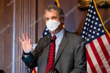 U.S. Senator Sherrod Brown (D-OH) speaks at a press conference to discuss how work on President Biden's American Rescue Plan will continue during the Senate impeachment trial.