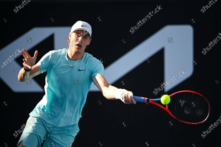 Denis Shapovalov of Canada in action during his second Round Men's singles match against Bernard Tomic of Australia on Day 3 of the Australian Open Grand Slam tennis tournament in Melbourne, Australia, 10 February 2021.