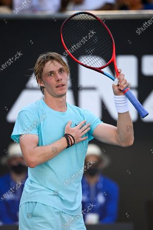 Denis Shapovalov of Canada celebrates after winning his second Round Men's singles match against Bernard Tomic of Australia during his second Round Men's singles match against Denis Shapovalov of Canada on Day 3 of the Australian Open Grand Slam tennis tournament in Melbourne, Australia, 10 February 2021.