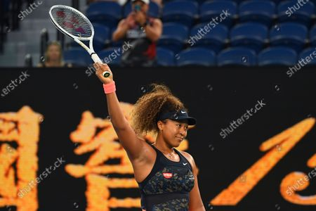 Naomi Osaka of Japan reacts after winning her second Round Women's singles match against Caroline Garcia of France on Day 3 of the Australian Open at Melbourne Park in Melbourne, Australia, 10 February 2021.