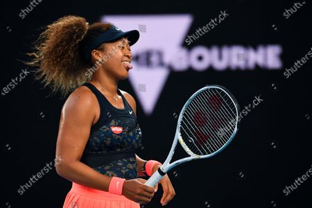 Naomi Osaka of Japan reacts during her second Round Women's singles match against Caroline Garcia of France on Day 3 of the Australian Open at Melbourne Park in Melbourne, Australia, 10 February 2021.