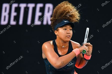 Naomi Osaka of Japan in action during her second Round Women's singles match against Caroline Garcia of France on Day 3 of the Australian Open at Melbourne Park in Melbourne, Australia, 10 February 2021.