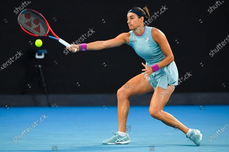 Caroline Garcia of France in action during her second Round Women's singles match against Naomi Osaka of Japan on Day 3 of the Australian Open at Melbourne Park in Melbourne, Australia, 10 February 2021.