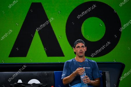 Alex Bolt of Australia reacts during his second Round Men's singles match against Grigor Dimitrov of Bulgaria on Day 3 of the Australian Open at Melbourne Park in Melbourne, Australia, 10 February 2021.