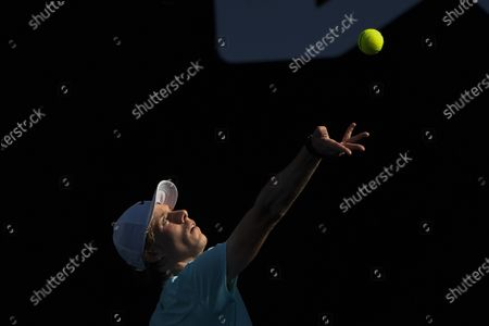Stock Picture of Canada's Denis Shapovalov serves to Australia's Bernard Tomic during their second round match at the Australian Open tennis championship in Melbourne, Australia