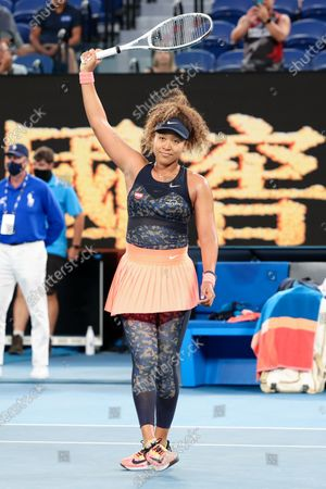 3rd seed Naomi OSAKA of Japan celebrates after defeating Caroline GARCIA of France in a 2nd round match on day 3 of the Australian Open on Rod Laver Arena, in Melbourne, Australia