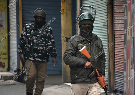 Stock Picture of Paramilitary soldiers patrol in city center Lal Chowk in Srinagar, Kashmir on February 09, 2021. Shops and business establishments remain closed in Srinagar on the 8th death anniversary of Afzal Guru who was secretly hanged in New Delhi's Tihar jail 0n February 09, 2031 for his alleged role in Indian parliament attack. (Photo by Faisal Khan/NurPhoto)
