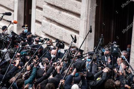 Former Italian Premier Silvio Berlusconi  arrives at the Chamber of Deputies to meet Mario Draghi, in Rome, Tuesday, Feb. 9, 2021.  (Photo by Andrea Ronchini/NurPhoto)