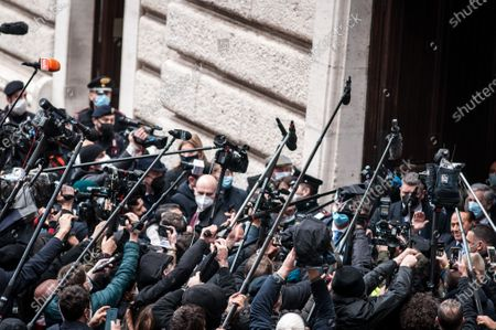 Stock Photo of Former Italian Premier Silvio Berlusconi  arrives at the Chamber of Deputies to meet Mario Draghi, in Rome, Tuesday, Feb. 9, 2021.  (Photo by Andrea Ronchini/NurPhoto)
