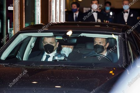 Stock Image of Italy's former Prime Minister Silvio Berlusconi leaves in a car following  a  meeting with the designated Prime Minister Mario Draghi as he holds a  second round of consultations on formation of a new government at the Chamber of Deputies (Montecitorio), on February 9, 2021 in Rome, Italy. (Photo by Christian Minelli/NurPhoto)