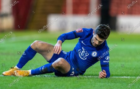 Christian Pulisic of Chelsea after missing a decent first half chance on goal; Oakwell Stadium, Barnsley, Yorkshire, England; English FA Cup 5th round Football, Barnsley FC versus Chelsea.
