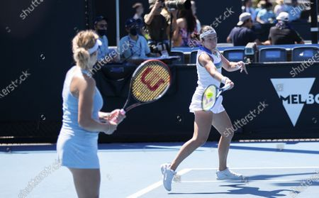 Anastasia Pavlyuchenkova/Anastasija Sevastova (R) compete during the women's doubles first round match between Yang Zhaoxuan/Xu Yifan of China and Russia's Anastasia Pavlyuchenkova/Latvia's Anastasija Sevastova at the Australian Open in Melbourne Park, Melbourne, Australia on Feb. 10, 2021.
