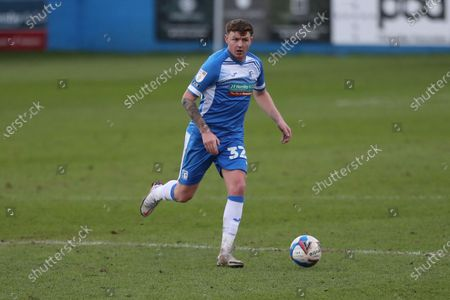 Dion Donohue of Barrow during the Sky Bet League 2 match between Barrow and Cambridge United at the Holker Street, Barrow-in-Furness on Saturday 6th February 2021. (Photo by Mark Fletcher/MI News/NurPhoto)