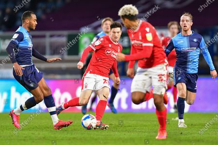 Joe Lolley (23) of Nottingham Forest plays the ball to Lyle Taylor (33) of Nottingham Forest during the Sky Bet Championship match between Wycombe Wanderers and Nottingham Forest at Adams Park, High Wycombe on Saturday 6th February 2021.  (Photo by Jon Hobley/MI News/NurPhoto)