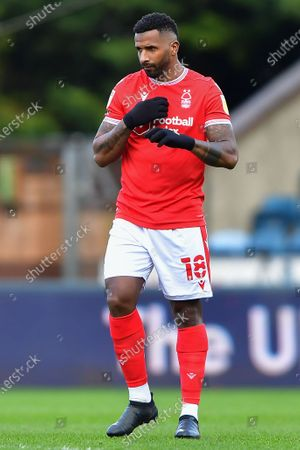 Cafu (18) of Nottingham Forest during the Sky Bet Championship match between Wycombe Wanderers and Nottingham Forest at Adams Park, High Wycombe on Saturday 6th February 2021.  (Photo by Jon Hobley/MI News/NurPhoto)