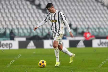 Alvaro Morata of Juventus FC during the Serie A football match between Juventus FC and AS Roma at Allianz Stadium on February 06, 2021 in Turin, Italy.Juventus won 2-0 over Roma. (Photo by Massimiliano Ferraro/NurPhoto)