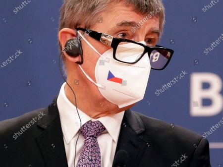 Czech Prime Minister Andrej Babis talks during the press conference with Serbian Prime minister Ana Brnabic (not pictured) after their meeting in Belgrade, Serbia, 10 February 2021. Prime Minister Babis  is on an official state visit to Serbia.