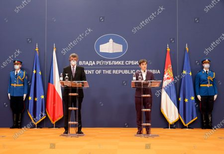 Serbian Prime Minister Ana Brnabic (R) talks during the press conference with Czech Prime Minister Andrej Babis (L) after their meeting in Belgrade, Serbia, 10 February 2021. Prime Minister Babis  is on an official state visit to Serbia.