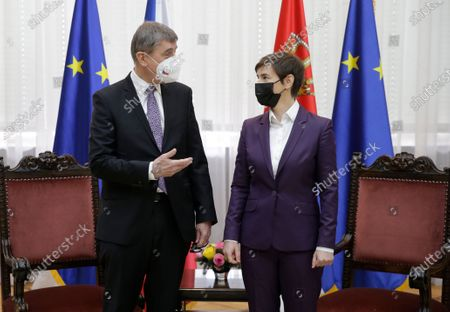 Czech Prime Minister Andrej Babis (L) pose for a photo with Serbian Prime Minister Ana Brnabic (R) during their meeting in Belgrade, Serbia, 10 February 2021. Prime Minister Babis  is on an official state visit to Serbia.