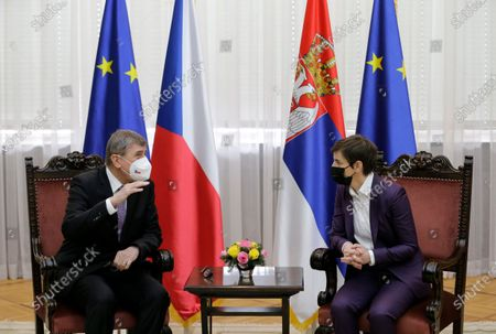 Czech Prime Minister Andrej Babis (L) talks with Serbian Prime Minister Ana Brnabic (R) during their meeting in Belgrade, Serbia, 10 February 2021. Prime Minister Babis  is on an official state visit to Serbia.