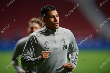 Jeison Murillo of Celta de Vigo during the warm-up before the La Liga Santander match between Atletico de Madrid and RC Celta at Estadio Wanda Metropolitano on February 8, 2021 in Madrid, Spain. Sporting stadiums around Spain remain under strict restrictions due to the Coronavirus Pandemic as Government social distancing laws prohibit fans inside venues resulting in games being played behind closed doors.