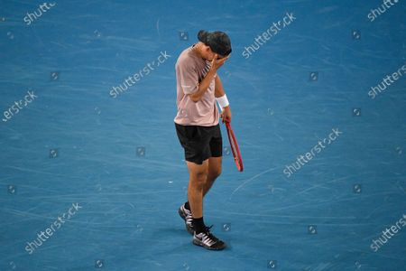 Australia's Alex Bolt reacts during second round match against Bulgaria's Grigor Dimitrov at the Australian Open tennis championship in Melbourne, Australia