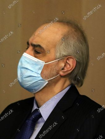 Bashar al-Jaafari, Assistant of Syrian Foreign Minister looks on during a meeting in Damascus, Syria, 10 February 2021. Syrian President Bashar Al-Assad met earlier with Khaji, during which the two sides discussed bilateral cooperation especially in the economic arena.
