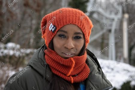 Elodie Ouedraogo pictured during the start of the 2021 edition of 'Te Gek!?', a mental illness awareness campaign, Wednesday 10 February 2021 in Brussels.
