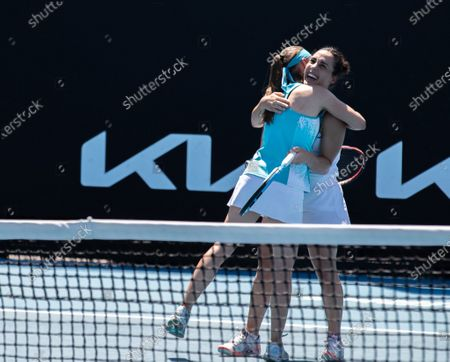Aleksandra Krunic (L)/Martina Trevisan celebrate after the women's doubles first round match between China's Zheng Saisai/Duan Yingying and Serbia's Aleksandra Krunic/Italy's Martina Trevisan at the Australian Open in Melbourne Park, Melbourne, Australia on Feb. 10, 2021.