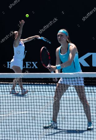 Stock Photo of Aleksandra Krunic (R)/Martina Trevisan compete during the women's doubles first round match between China's Zheng Saisai/Duan Yingying and Serbia's Aleksandra Krunic/Italy's Martina Trevisan at the Australian Open in Melbourne Park, Melbourne, Australia on Feb. 10, 2021.