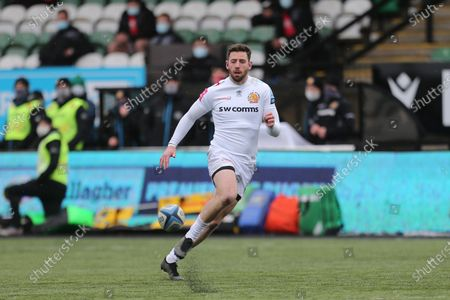 Alex Cuthbert of Exeter Chiefs in action  during the Gallagher Premiership match between Newcastle Falcons and Exeter Chiefs at Kingston Park, Newcastle on Sunday 7th February 2021.  (Photo by Chris Lishman/MI News/NurPhoto)