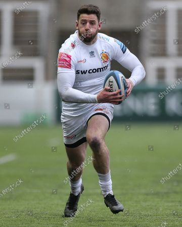 Alex Cuthbert of Exeter Chiefs  during the Gallagher Premiership match between Newcastle Falcons and Exeter Chiefs at Kingston Park, Newcastle on Sunday 7th February 2021.  (Photo by Chris Lishman/MI News/NurPhoto)