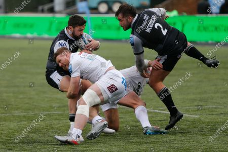 Gareth Owen of Newcastle Falcons is tackled by Sam Simmonds of Exeter Chiefs during the Gallagher Premiership match between Newcastle Falcons and Exeter Chiefs at Kingston Park, Newcastle on Sunday 7th February 2021.  (Photo by Chris Lishman/MI News/NurPhoto)